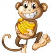 A happy monkey with bananas — Stock Vector