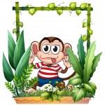 A monkey wearing a stripe shirt — Stock Vector #18916227
