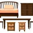 Furnitures made from woods - Stock Vector