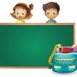 Kids and a green board — Stock Vector