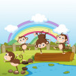 Monkeys and a rainbow — Stock Vector