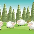 Smiling sheeps — Stock Vector