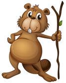 A beaver holding a stem — Stock Vector