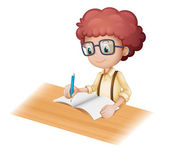 A nerd boy writing — Stock Vector