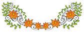鲜花和绿叶边框 — 图库矢量图片