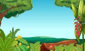 Una vista de la selva — Vector de stock