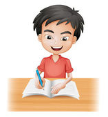 A smiling boy writing — Stock Vector