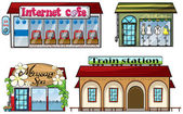 Various shops and a train station — Stock Vector
