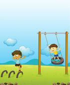 Kids playing swing — Stock Vector