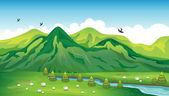 Sheeps, birds and a beautiful landscape — Stock Vector