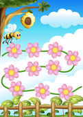 A bee and flowers — Stock Vector