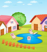 Pigs and houses — Stock Vector