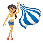 A smiling girl with a national flag of Greece — Stock Vector