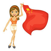 A smiling girl with a national flag of China — Stock Vector