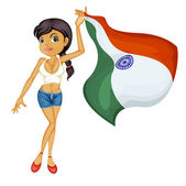A smiling girl with a national flag of India — Stock Vector