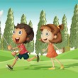 A running boy and a girl — Stock Vector