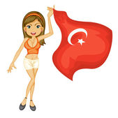 A smiling girl with a national flag of turkey — Stock Vector