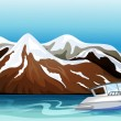 A boat, a river and a beautiful mountain — Imagen vectorial