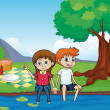 A smiling boy, a girl and a river - Stock Vector