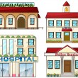 Stock Vector: Train station, school, police station and hospital
