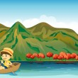 A river and a smiling boy in a boat — Stock Vector