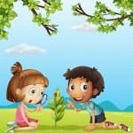une jeune fille souriante avec loupe et un garçon — Vecteur