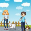 A smiling girl and a boy having dog - Imagen vectorial