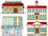 A train station, a school, a police station and a hospital — Stock Vector