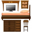 Various furnitures and lcd television - Stock Vector