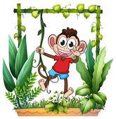 A monkey waving — Stock Vector