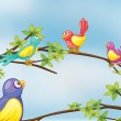 Stock Vector: Colorful birds talking