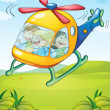 A colorful helicopter with happy kids - Stock Vector