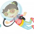 A girl scuba diving — Stock Vector