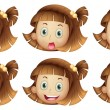 Different facial expressions of a girl - Stok Vektör