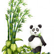 A panda eating - Stock Vector