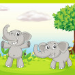Two gray elephants — Stock Vector