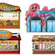 A fruitstand, an aquarium, a food stall and a bakery — Stock Vector