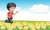 A boy running in the garden — Stock Vector