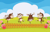Monkeys playing in the garden — Stock Vector