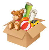 Toys in a box — Stock Vector