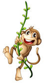 A monkey hanging on a vine — Stock Vector