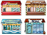 A donut store, bakery, fish and chips store and a pet shop — Stock Vector