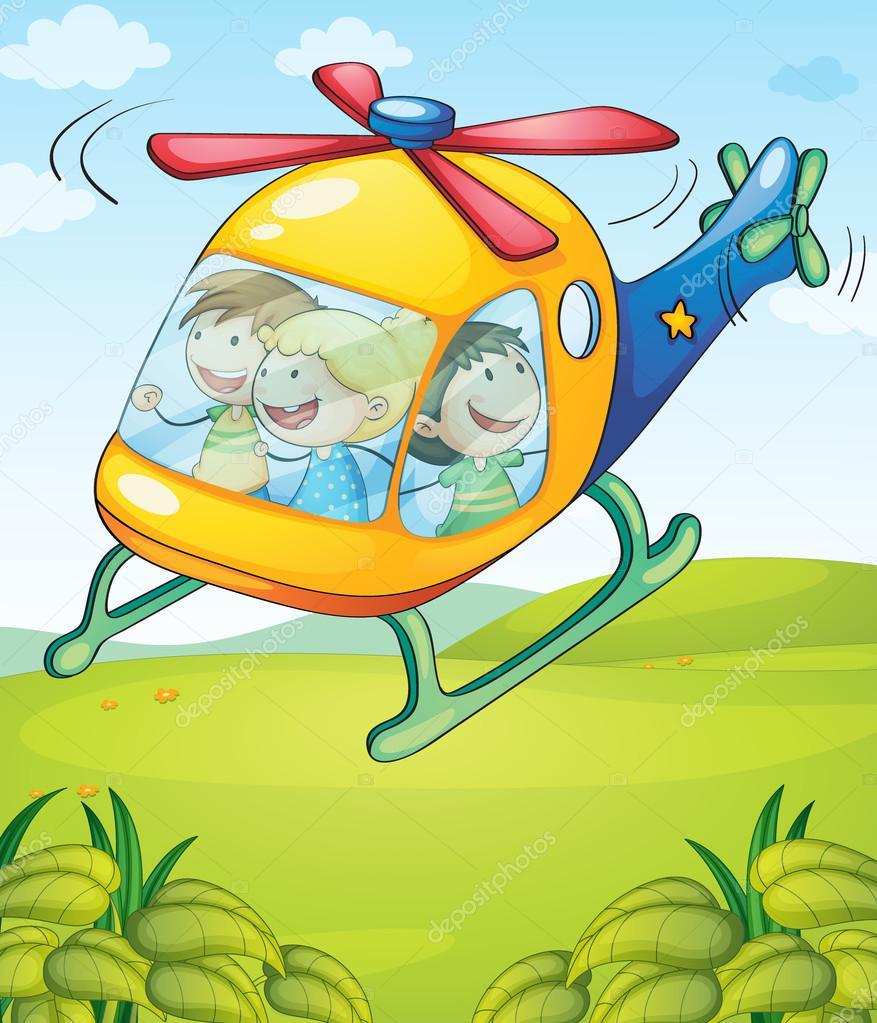 多彩的直升机带快乐的孩子