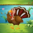 Royalty-Free Stock Vector Image: A turkey walking near the river