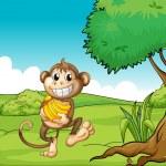 A happy monkey with bananas — Stock Vector #19401709