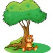 Stock Vector: A bear sitting under a big tree