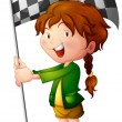 Royalty-Free Stock Vector Image: A smiling kid holding a flag
