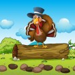 A turkey above a log - Stock Vector