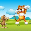 A Wild tiger and a monkey — Imagen vectorial