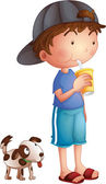 A young boy drinking beside a cute puppy — Stock Vector